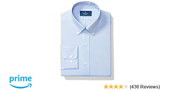 1b0f1c4ecc Amazon.com  Amazon Brand - BUTTONED DOWN Men s Classic Fit Button-Collar  Solid Pinpoint Non-Iron Dress Shirt  Clothing