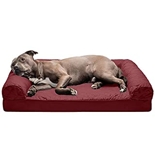 Furhaven Pet Dog Bed - Orthopedic Quilted Traditional Sofa-Style Living Room Couch Pet Bed with Removable Cover for Dogs and Cats, Wine Red, Large