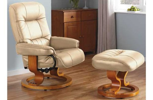 Santos Recliner Chair and Footstool - Ivory. : santos recliner chair - islam-shia.org