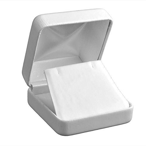 (White Leather Jewelry Necklace/Pendant/Earring Display Packaging Boxes ~ Pack of 12)