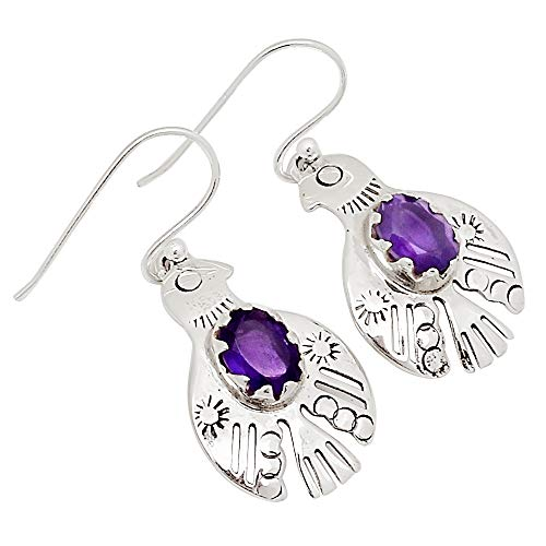 Xtremegems American Eagle - Amethyst 925 Silver Earrings Jewelry 1 3/8