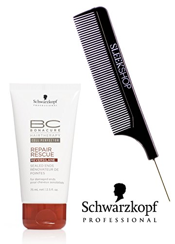 Rescue Repair Bonacure - Schwarzkopf BC Bonacure Repair Rescue SEALED ENDS for damaged ends (with Sleek Steel Pin Tail Comb) (2.5 oz / 75ml - retail size)