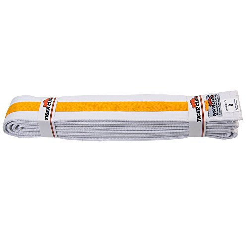 (Tiger Claw Uniform Belt - White with Yellow Stripe #0)