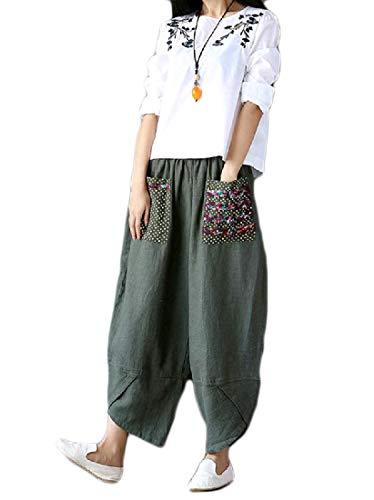 SportsX Women Linen Soft Chic Comfort Pork Chop Pocket Jegging Pants Army Green L ()