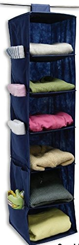 6 SHELF HANGING SWEATER CLOSET & CLOTHING ORGANIZER, BLUE