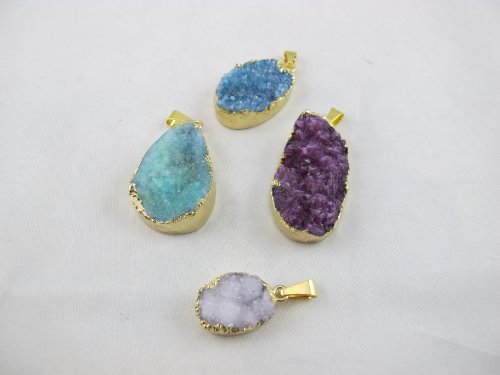 Agate Pendant Natural Druzy Agate with Gold Bezel One Hooks Set of 3 Mixed Shape Mixed -