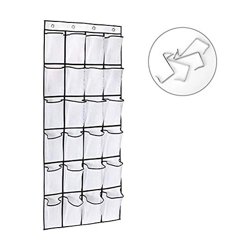 Reincom Over The Door Shoe Organizer 24 Large Mesh Pockets Heavy Duty Oxford Fabric with 4 Metal Hooks and 4 Free Silicone Hooks Hanging Shoe Organizer for Door Shoe Storage