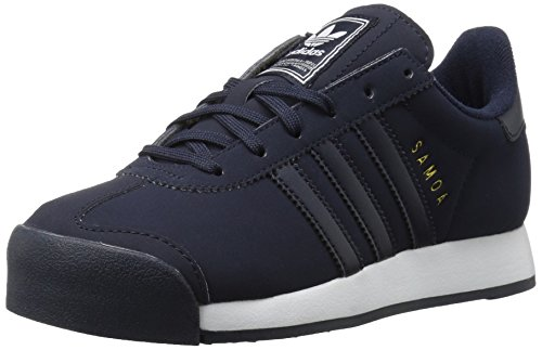 adidas Originals Boys' Samoa J Sneaker,Legend Ink/White/Metallic Gold,4 Medium US Big Kid
