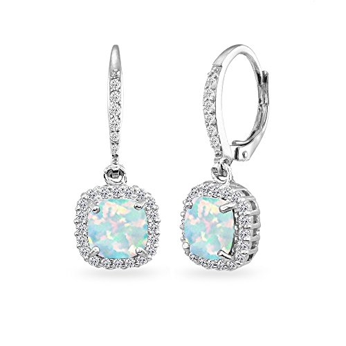 Sterling Silver Simulated Opal Cushion-Cut Dangle Halo Leverback Earrings with White Topaz Accents