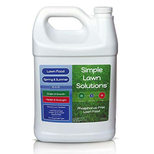 Superior Nitrogen & Potash 15-0-15 NPK- Lawn Food Natural Liquid Fertilizer - Concentrated Spray- Any Grass Type- Simple Lawn Solutions Green, Grow, Health & Strength- Phosphorus-Free (1 Gallon)