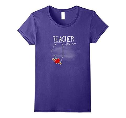 Womens Teaching Teacher Illinois Map T-shirt Educational Symbol Large Purple