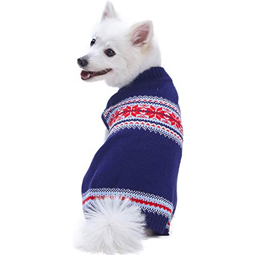 Blueberry Pet 2018/2019 New 5 Patterns Christmas Holiday Chic Secret Fair Isle Snowflakes Dog Sweater in Navy Blue, Back Length 14, Pack of 1 Clothes for Dogs