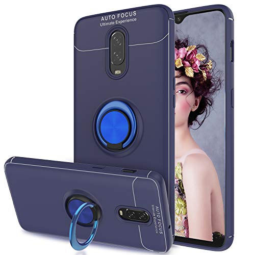 AnoKe Compatible with OnePlus 6T Case with Metal Ring Kickstand, 360 Degree Rotating Ring Grip Flexible Soft Shockproof TPU Gel Bumper Silicone Hybrid Protection Phone Cover for OnePlus 6T JSZH Blue