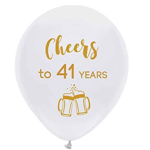 White cheers to 41 years latex balloons, 12inch (16pcs) 41th birthday decorations party supplies for man and woman