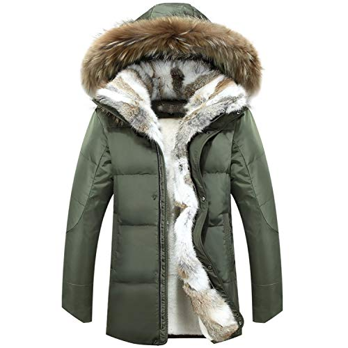 Fur Warm White Duck Feather Coat Long Winter Jacket Down Parka Hooded Outerwear,Army ()