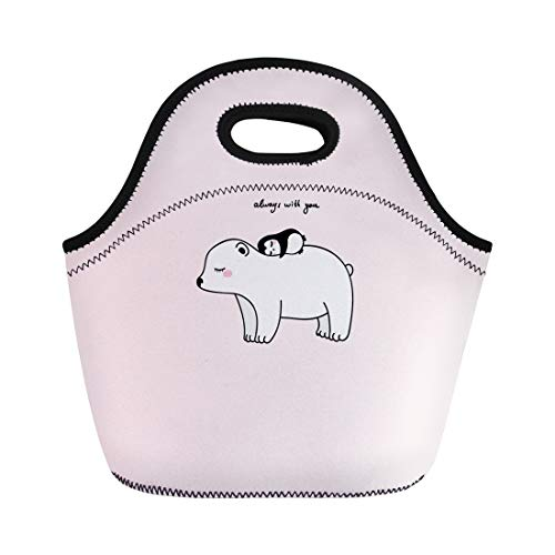 Semtomn Lunch Tote Bag Big White Pretty Polar Bear Little Penguin Pink Childish Reusable Neoprene Insulated Thermal Outdoor Picnic Lunchbox for Men Women