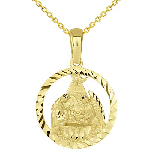 (14k Yellow Gold Textured Open Round Holy Spirit Baptism Christening Pendant with Rolo Necklace, 16