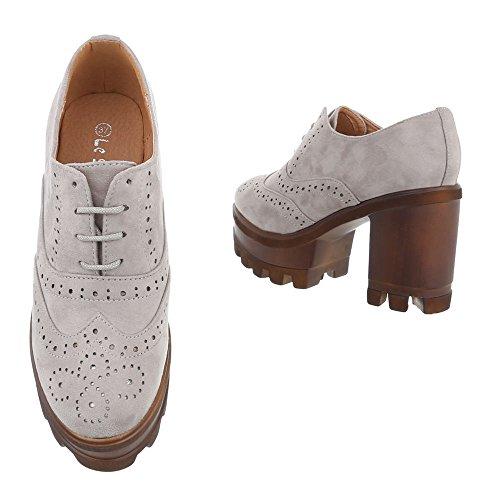 Ital-Design - Zapatos Planos con Cordones Mujer gris
