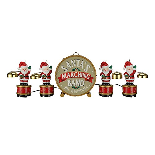 Mr. Christmas Santa's Marching Band Musical Figurines - 35 Christmas Carols played with Real Copper Santa Bells, Tree Ornaments or Tabletop Holiday ()