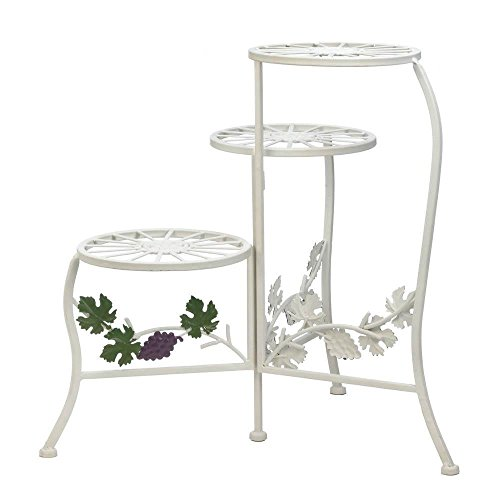 Metal Plant Stand, Outdoor Rustic White Grapevine 3-Tier Plant Stand Pedestal - Grapevine Pedestal