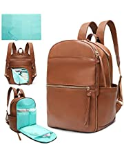 Diaper Bag Backpack Mominside Leather Baby Bag with Insulated Pockets, Wet Bag