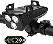 HaiZR Bike Lights Set - USB Rechargeable LED Bicycle Lights with phone holder & Bike Bell and Wireless Rem