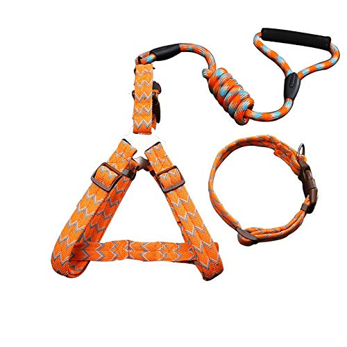 Three sets of flowers orange L Three sets of flowers orange L YSDTLX Dog Chain Dog Leash Chest Strap With Hyena Rope In The Large Dog Pet Supplies Flower orange Three-Piece Suit L