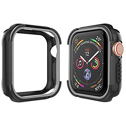 Tech Express Two Tone Shockproof Armor Case for Apple Watch Series 4 [iWatch Cover] Military Grade Rugged 40mm, 44mm Anti Scratch Drop Proof Construction Grade Full Body Bumper (Gray, ()