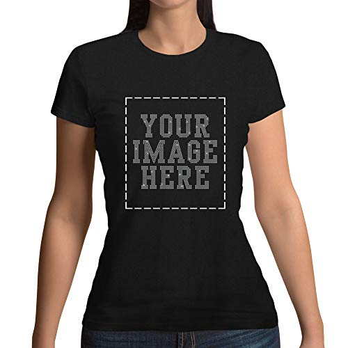 (Womens Custom T-Shirt Personalized Tee Shirts Design Your Own Image with Rhinestone)