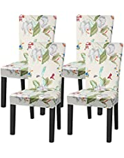 Cotton Cat Dining Room Chair Slipcovers, Stretch Washable Printed Dinning Chair Covers, Removable Chair Protectors Machine Washable for Hotel Ceremony Wedding Party (Set of 4, Floral)