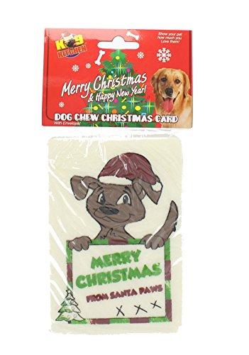 Set Of 2 Dog Rawhide Novelty Christmas Card Edible Chew Xmas Present (Edible Rawhide Card)