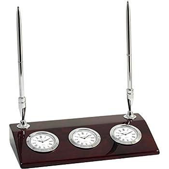 Amazon Com Chrome Three Time Zone Desk Clock W Two Pens