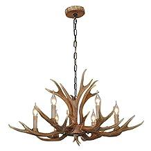 SDLighting® Deer Horn E12 BUlb 6-Light Iron Resin Industrial Retro Droplight Pendant lamp Ceiling lamp Ceiling light Chandelier Lighting Fixture for Restaurant Balcony Bedroom Coffee 1027C-6