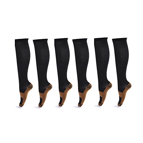 6 Pairs Copper Knee High Compression Support Socks For Women and Men - Best Medical, Nursing, Maternity Pregnancy and Travel Socks - 15-20mmHg (L/XL, Black)