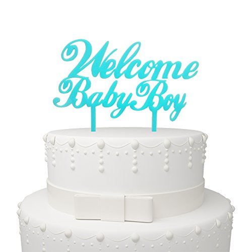 Welcome Baby Boy Blue Cake Topper – Baby Shower Birthday S