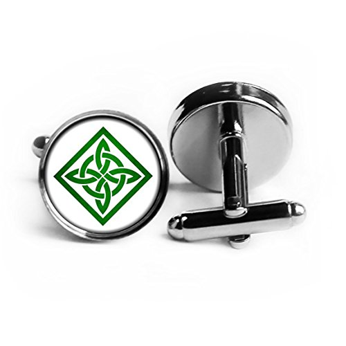 Celtic Knot Square Green on White Rhodium Plated Silver Cufflinks (Rhodium Square Cufflinks)