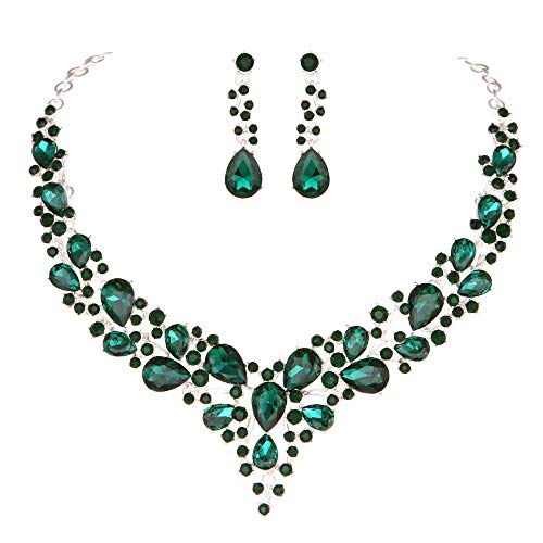 Youfir Bridal Austrian Crystal Necklace and Earrings Jewelry Set Gifts fit with Wedding Dress (Green) -