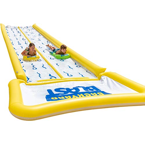 BACKYARD-BLAST-30-Waterslide-with-Bumpers-and-Pool-2-Inflatable-Riders-and-Hand-Air-Pump-Easy-to-Setup-Extra-Thick-to-Prevent-Rips-Tears