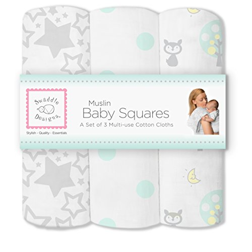 SwaddleDesigns Cotton Squares SeaCrystal Woodland