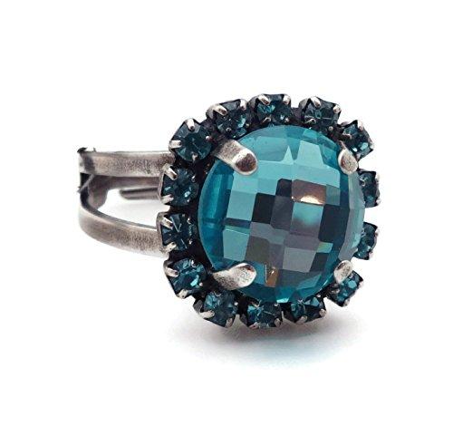 Aqua Brass Cut Collection - Mariana Zambezi Swarovski Crystal Silvertone Ring Aqua Round Checkerboard Cut with Boarder 1082