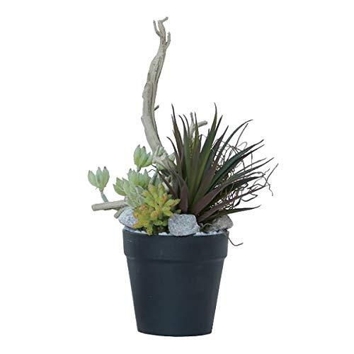 人工観葉植物 ミニアレンジメントポットSE(6個セット) bb370 多肉植物セット (代引き不可) インテリアグリーン 造花 POT SUCCULENT B07T21K1V8
