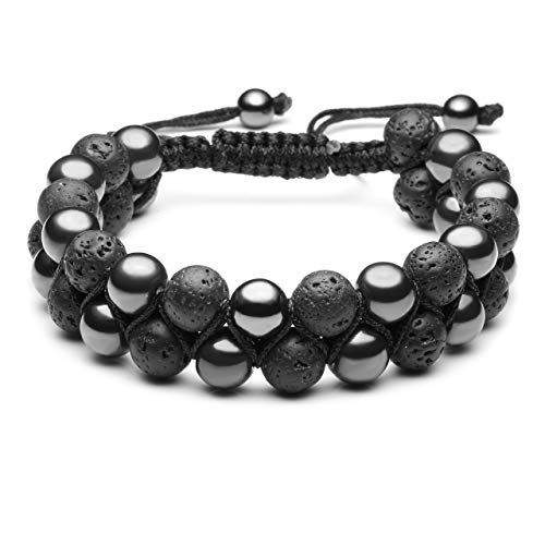 Top Plaza Men Women 8mm Lava Rock Stone Aromatherapy Essential Oil Diffuser Bracelet Braided Rope Natural Stone Yoga Beads Bracelets - Magnetic Hematite Stone