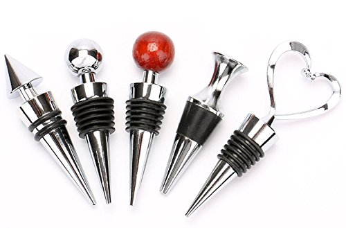 Bekith Zinc Alloy Bar Tools Wine Plug Wine & Beverage Bottle Stopper,Set of 5 by Bekith