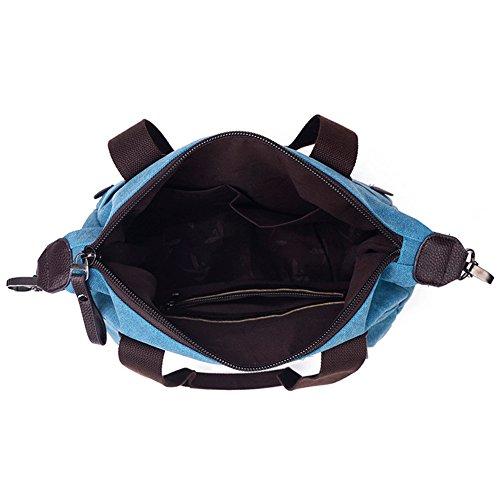 MIUINCY Women's Canvas Handbag Everyday Purse Tote Crossbody Multipurpose Shoulder Bag Blue