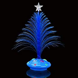 XEDUO Merry LED Color Changing Night Light Mini Christmas Xmas Tree Home Table Party Decor Charm (Blue)