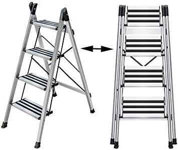 XSJZ Escalera Plegable, Aleación de Aluminio, Plata Gruesa ...