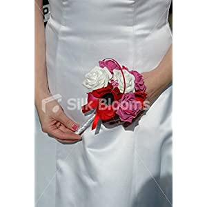 Red Poppy Anemone Wedding Wand with White and Pink Roses 87