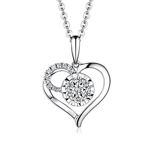 Beydodo Women Necklace,18k Real White Gold 1.06g Heart Convergence of Love Round Diamond Necklace by  (Image #4)