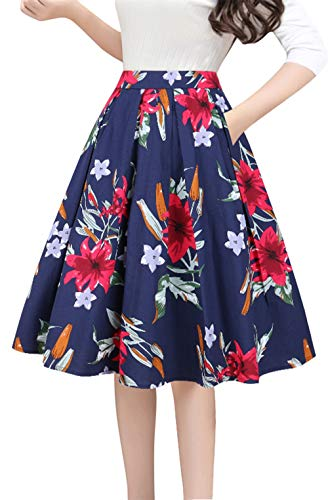 Tandisk Women's Vintage A-line Printed Pleated Flared Midi Skirts with Pockets (Navy Red Flower, L)