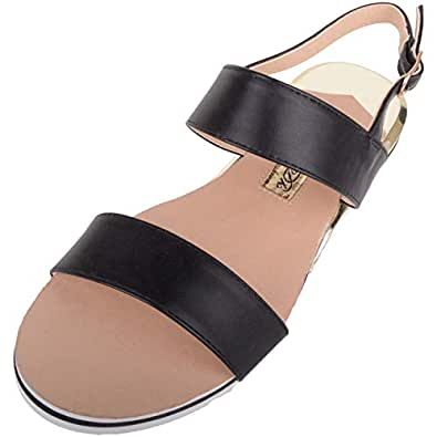 ABSOLUTE FOOTWEAR Womens Light Weight Strappy Holiday/Summer/Casual Sandals/Shoes - Black - US 5
